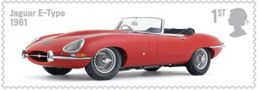 Stamp showing Jaguary E-type car.