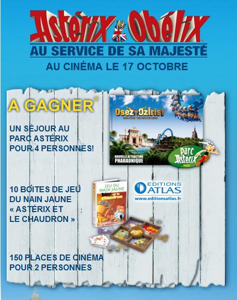 Un séjour au parc Astérix+ 150 places de cinéma + 10 boites de jeu à gagner