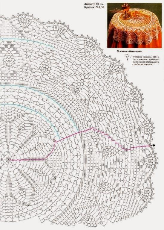 Вязание больших круглых салфеток крючком 33