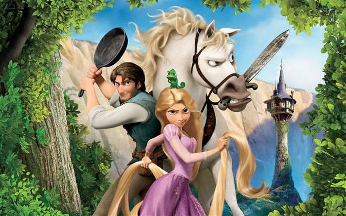 Maximus, Flynn, Rapunzel Tangled 2010 animatedfilmreviews.filminspector.com