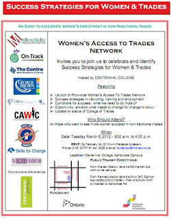 Success Strategies for Women & Trades Forum, Toronto, March 6, 2012, flyer credit: Women's Access to Trades Network