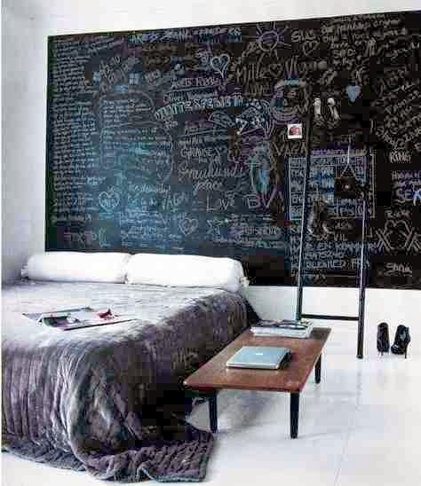 Farba tablicowa na ścianie w sypialni