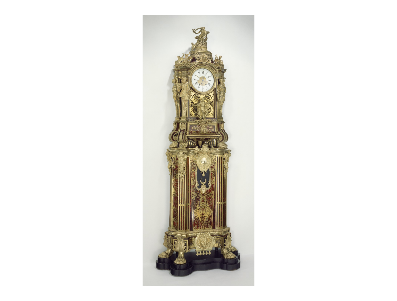 Long case musical clcok. Clock case attributed to Alexandre-Jean Oppenordt, designer; possibly after designs by Gilles-Marie Oppenord, designer French, Paris, about 1712, J. Paul Getty Museum,Los Angeles