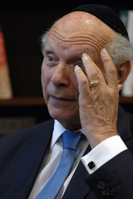 New York's, Rabbi Arthur Schneier, gestures  during an interview for the Associated Press in  Sarajevo, Bosnia-Herzegovina, on July 9, 2012.  Schneier, a Holocaust survivor, is in Bosnia for  the 17th anniversary of the Srebrenica genocide.