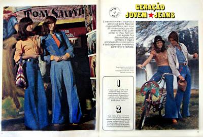 Moda anos 70. História década 70. moda feminina anos 70. artigo jeans revista Capricho - 1974