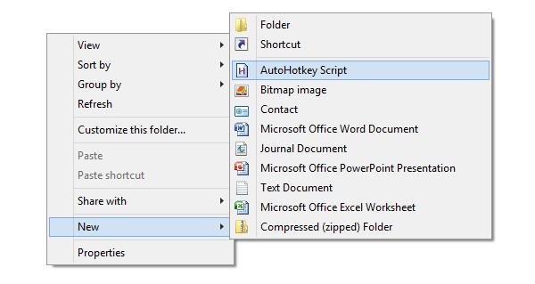 create new autohotkey script