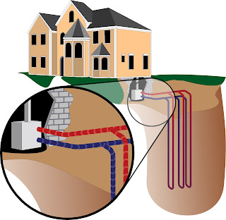 Geothermal pipes go deep under ground