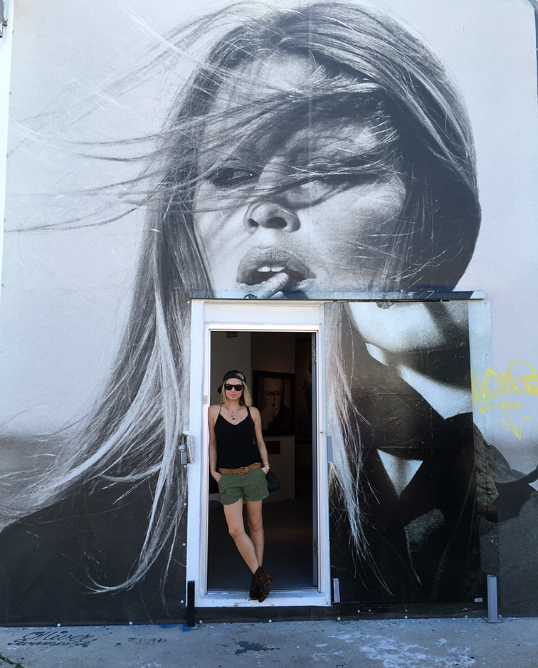 In front of the Brigitte Bardot street art Terry O'neill gallery, MBAB, Art Basel 2014, Wynwood