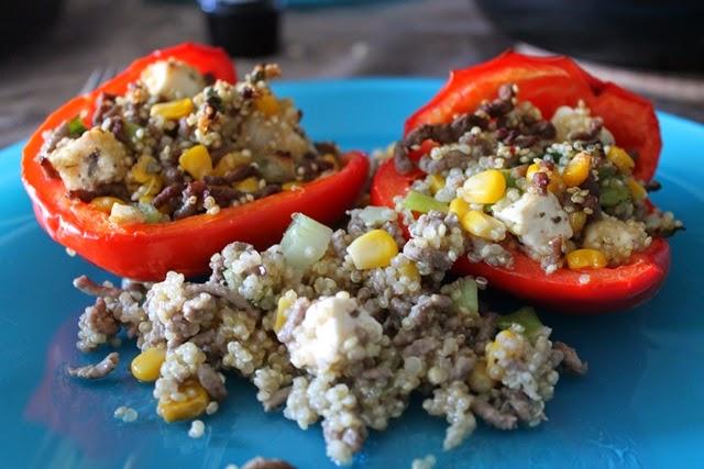 recept gevulde paprika gehakt feta