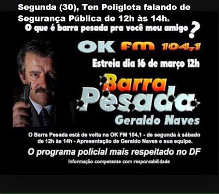 Estaremos na Rádio OK FM 104.1 das 12:00 às 14:00 hs desta Segunda-feira