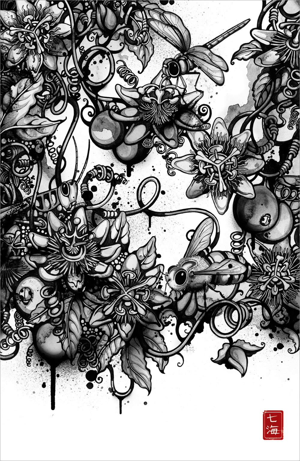 07-Inksects-Nanami-Cowdroy-Splashes-of-Ink-Drawings-www-designstack-co