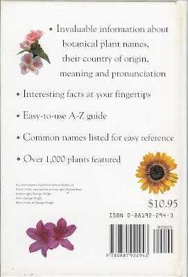 Dictionary of Plant Name - Back Cover