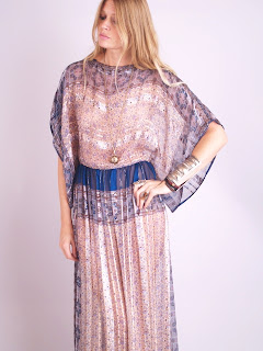 Vintage 1970's 100% silk ethnic print bohemian maxi dress with gold metallic thread woven throughout and kimono sleeves.