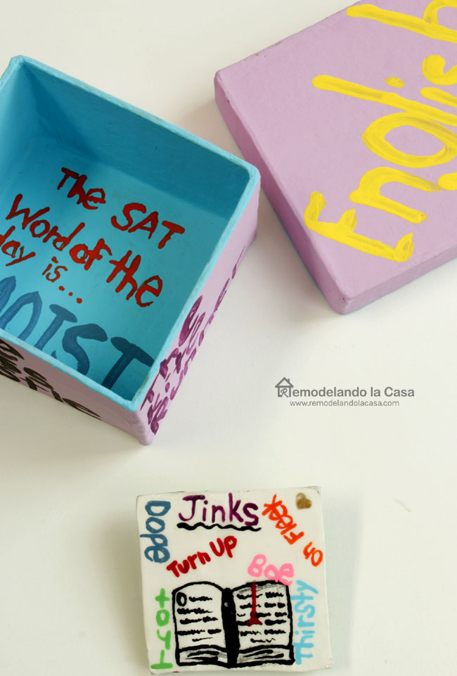 words and book in pin gift for an English teacher