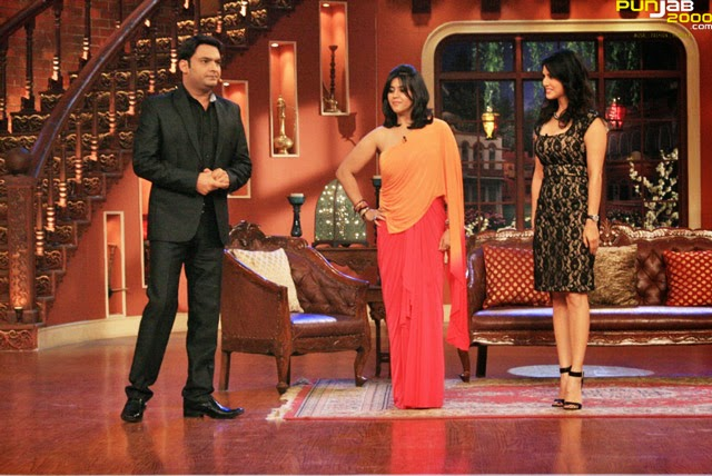 Ekta Kapoor and Sunny Leon in Comedy Nights with Kapil