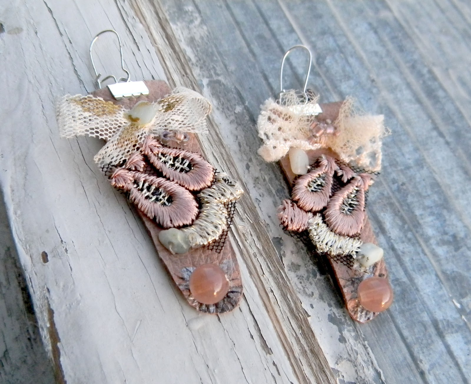 Victorian Handmade Earrings Leather Jewelry