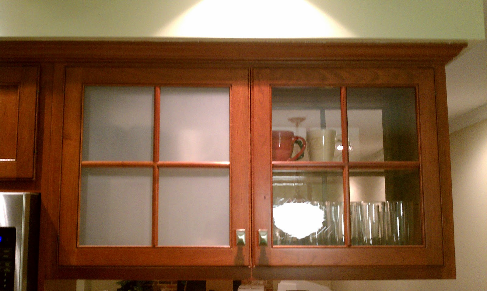 For all things creative diy frosted glass window film for All glass kitchen cabinets