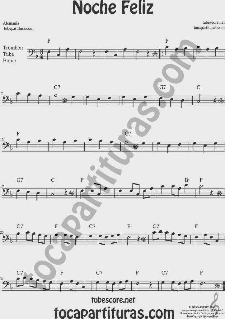 Noche Feliz Partitura de Saxofón Soprano y Saxo Tenor Sheet Music for Soprano Sax and Tenor Saxophone Music Scores Noche Feliz Partitura de Trombón, Tuba Elicón y Bombardino Sheet Music for Trombone, Tube, Euphonium Music Scores