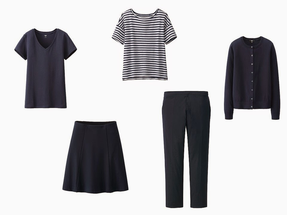5 piece mini capsule travel wardrobe from Uniqlo