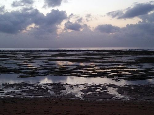 干潮のサヌールの海岸
