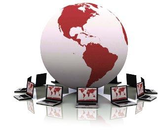 image of globe and laptops