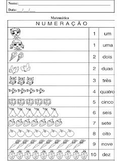 atividades matematica numeração
