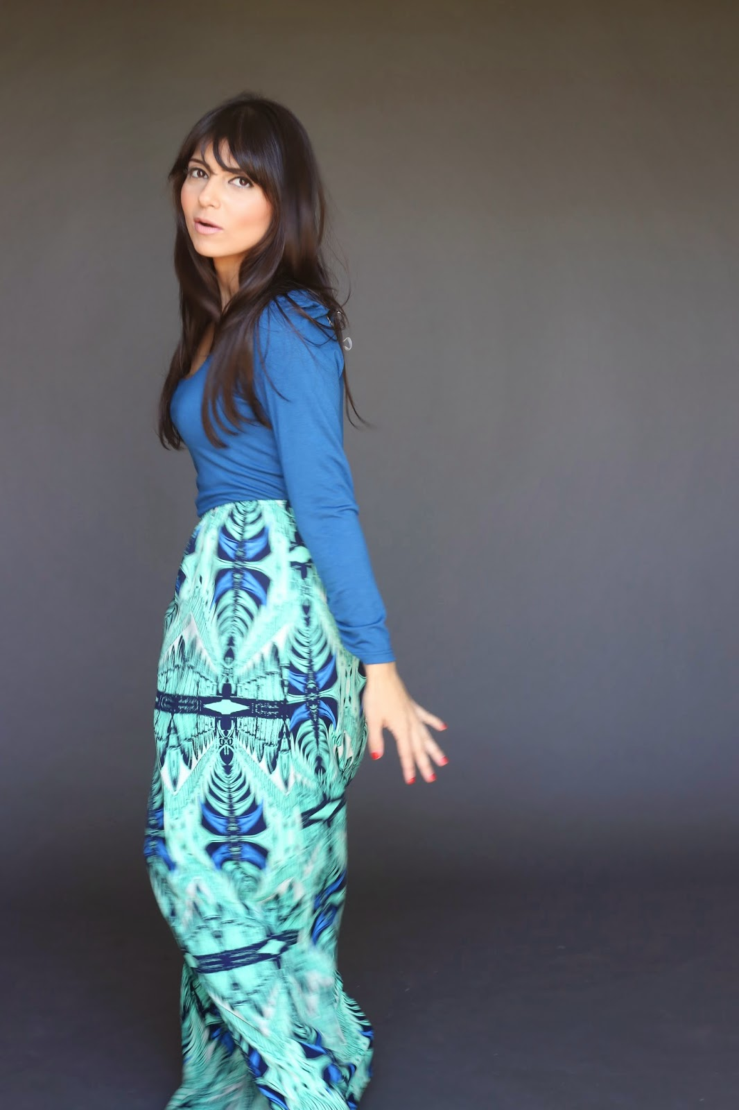 Long sleeve modest maxi dress with blue top and tribal print skirt Mode-sty hijab tznius fashion style islamic kosher