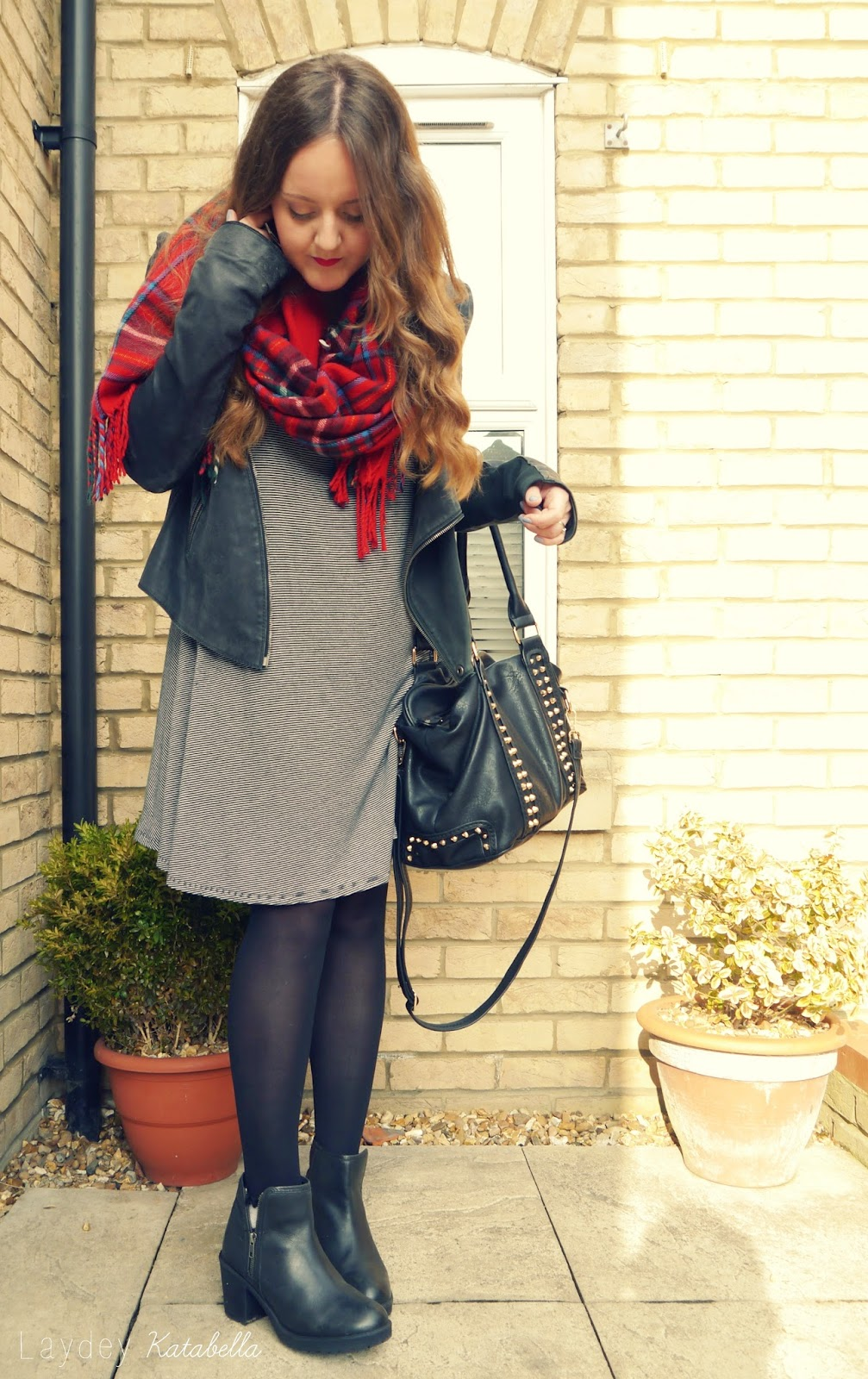 outfit with tartan and leather