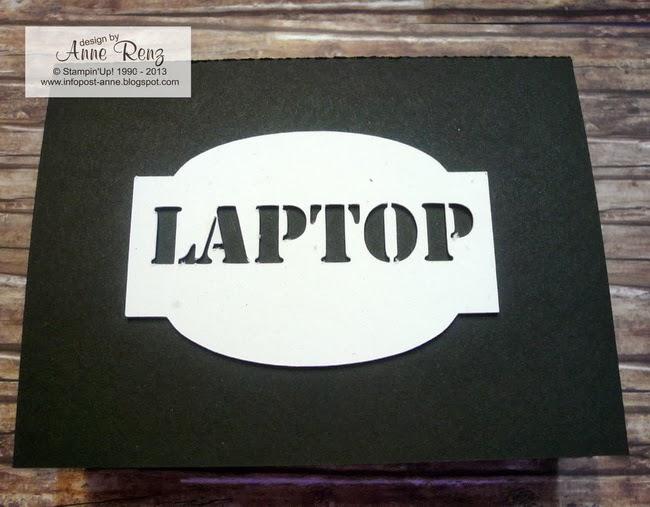 infopost kreativ mit stempel laptop zu verschenken. Black Bedroom Furniture Sets. Home Design Ideas