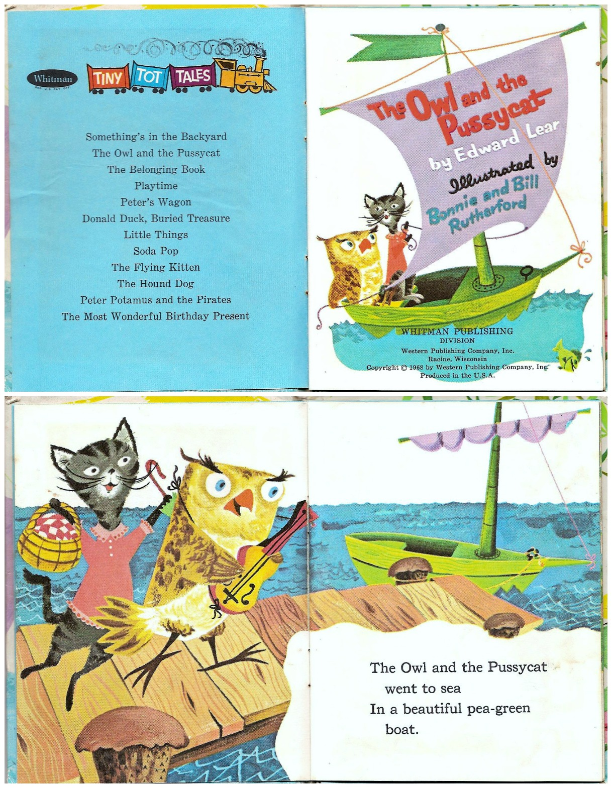owl and pussy cat company Owl sets out to woo pussycat in a boat laden with fruit from their caribbean island and with a guitar at his side, ready for serenading as they sail off across the sea, another story unfolds in the water beneath the boat.