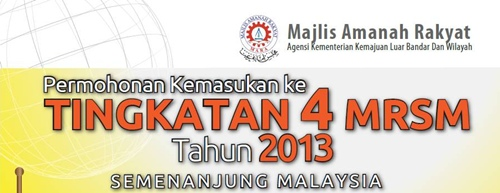 Sila click link di bawah untuk ke MRSM | On-Line Application Login :
