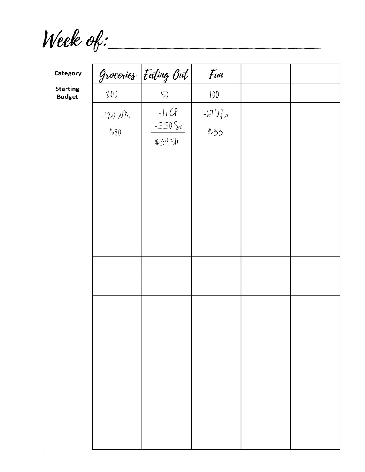 malena haas freebie friday weekly budget tracker printable