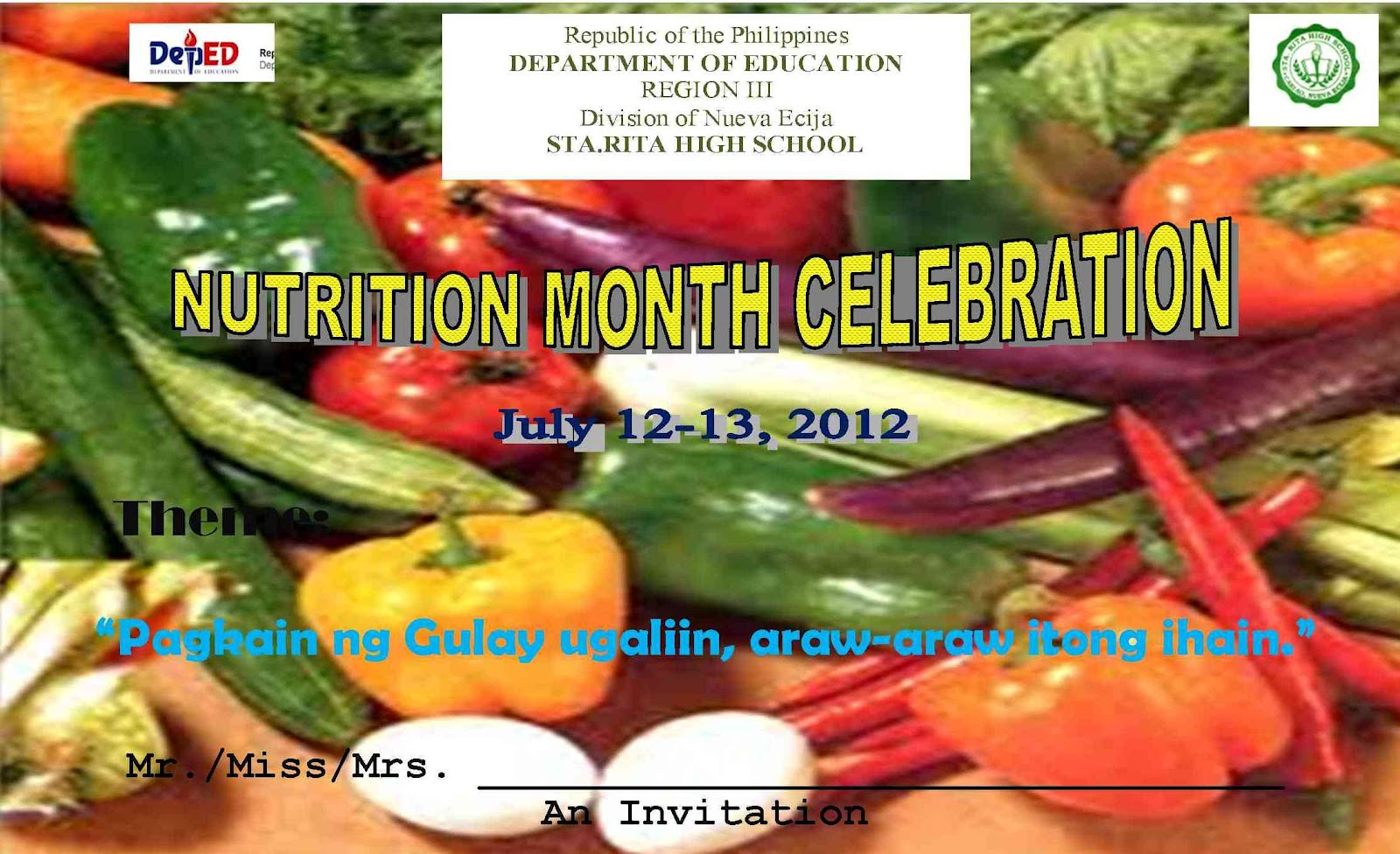 Poster design nutrition month - Programme Nutrition Month 2012