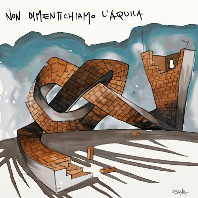 Gava satira vignette ridere pensare caricature venezia gavavenezia l'aquila dimenticata terremoto