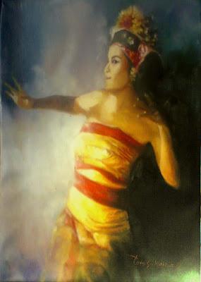 Lukisan penari bali,lukisan bali,lukisan ekpresi penari,lukisan karya toto sukatma.