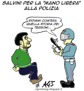 salvini, polizia, tortura satira vignetta