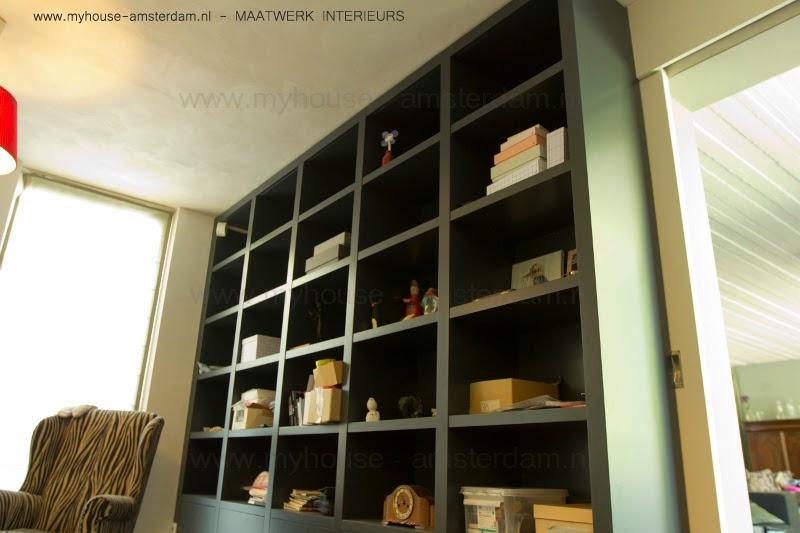 My house amsterdam moderne houten boekenkasten - Moderne boekenkast ...