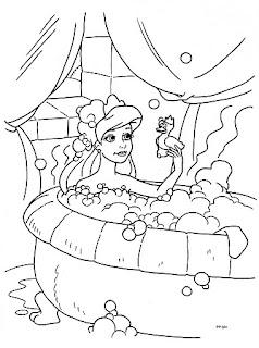 Princesa bañandose para colorear