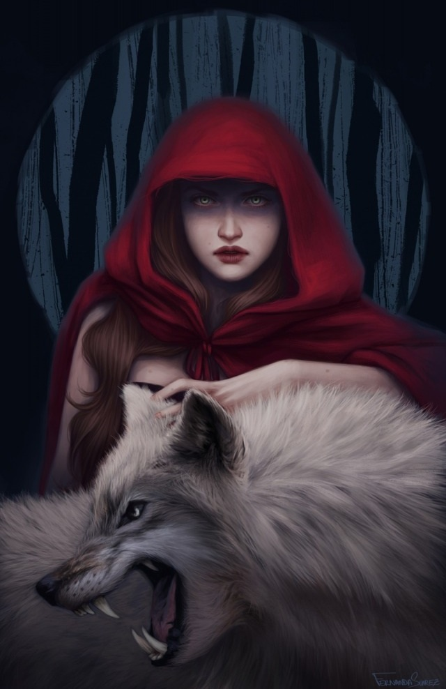 little red ridding hood, big bad wolf,digital art girl