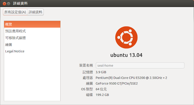 Ubuntu Linux 13.04 系統資訊