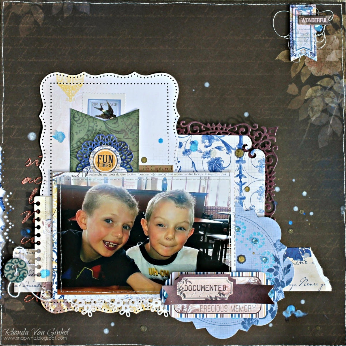 Fun Times Scrapbook Page by Rhonda Van Ginkel for BoBunny Featuring Rose Cafe Collection