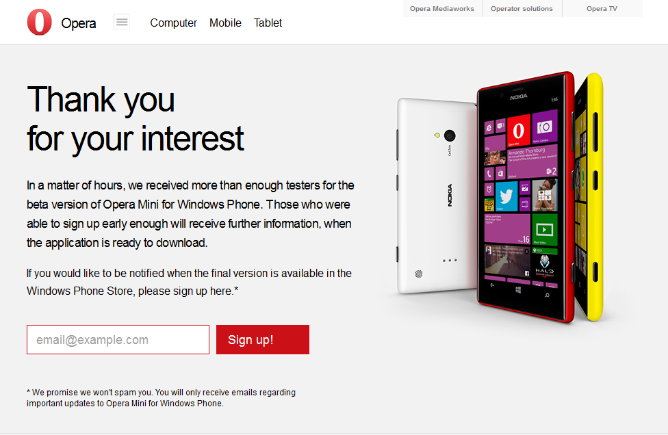 Opera Mini Beta untuk Windows Phone