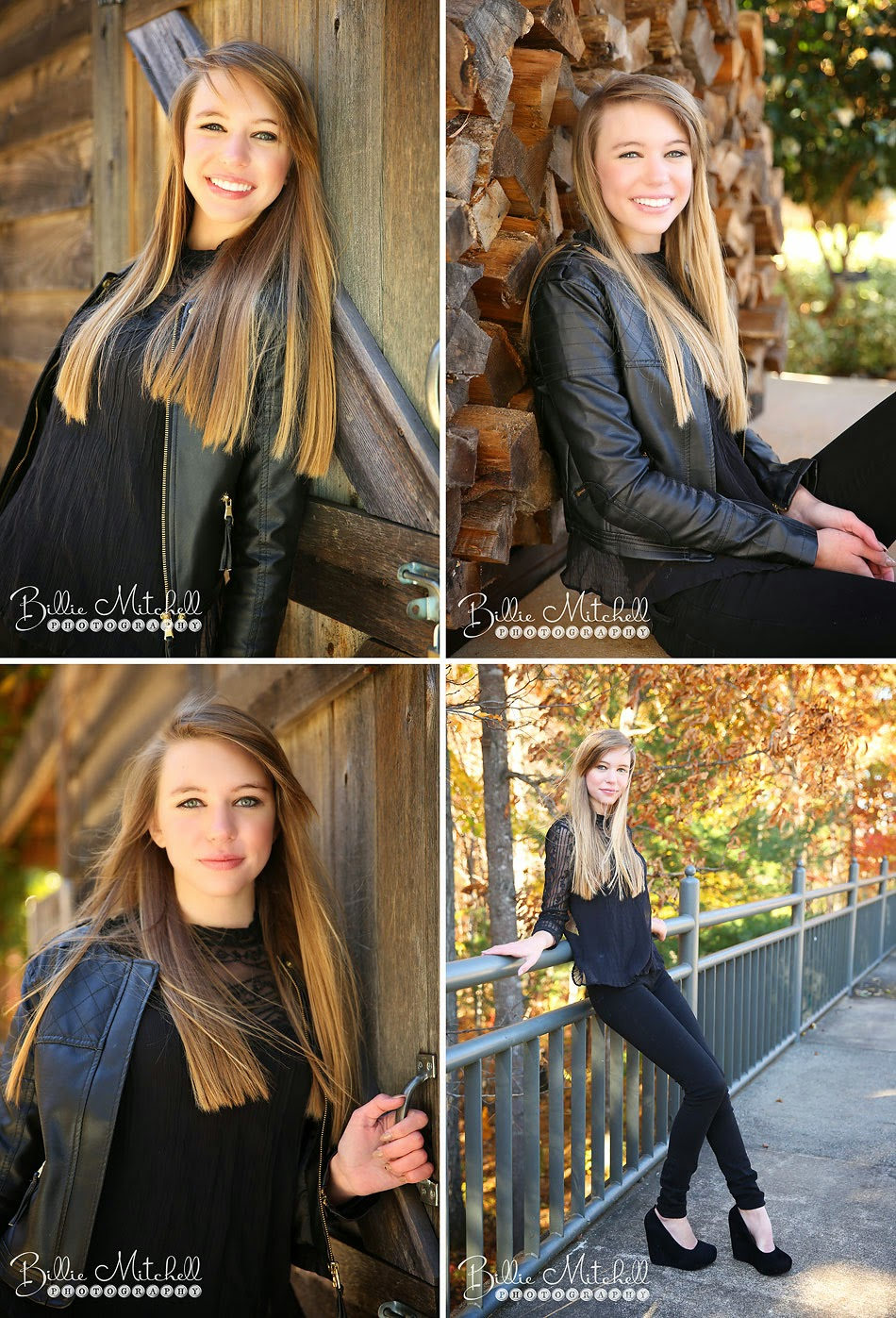 teen girl with long blonde hair wearing black leather jacket, black flowy shirt, black jeans, and black heals