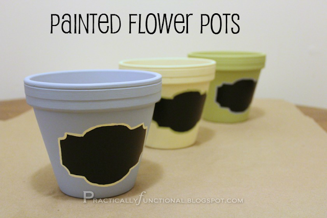 Painted terra cotta flower pots