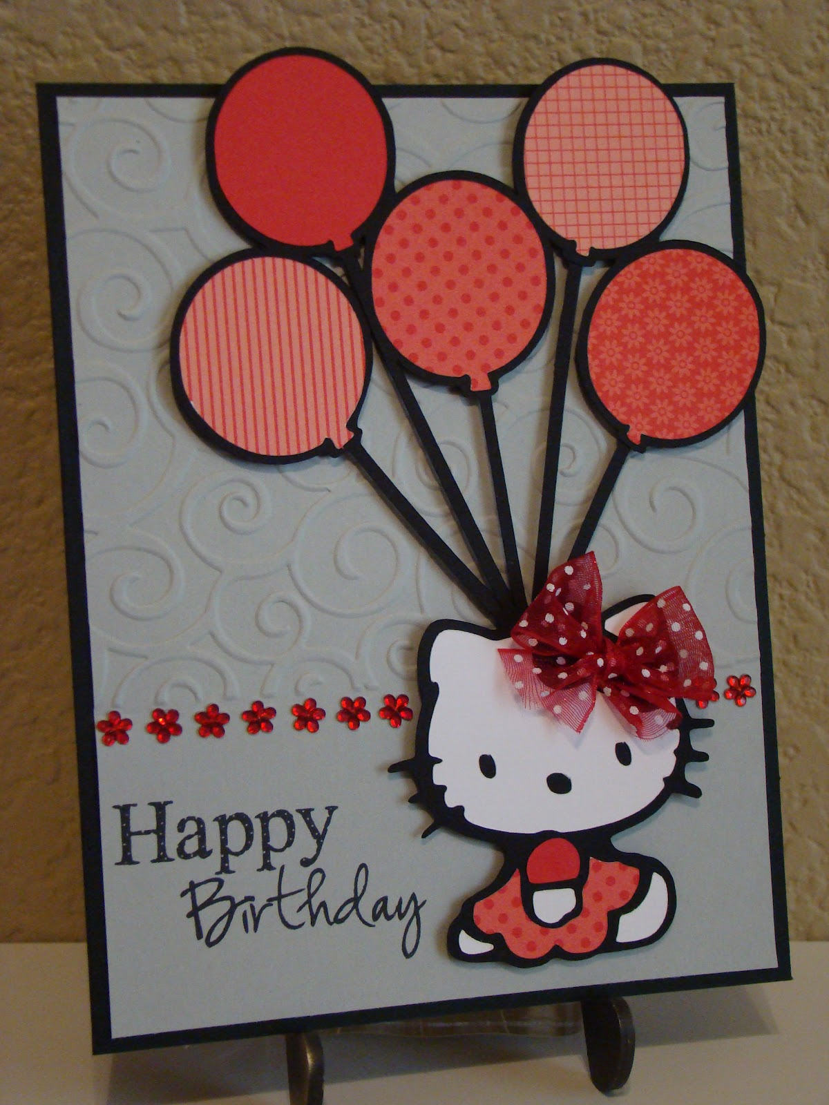 Creating with color by cassandra emmas surprise birthday blog hop the super cute hello kitty and all of her balloons were cut from the hello kitty greetings cricut cartridge m4hsunfo