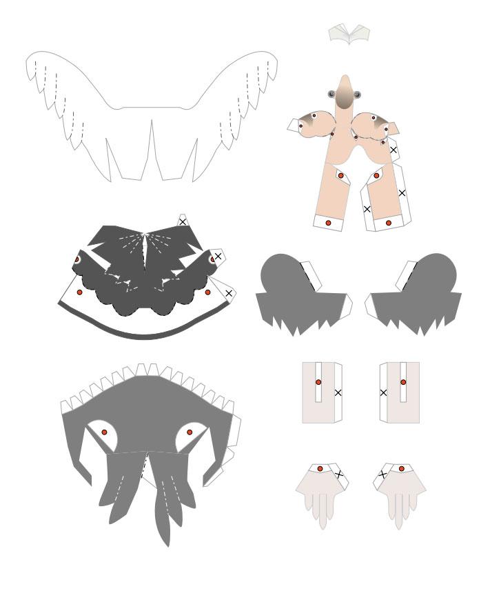 plantilla 3D de ave