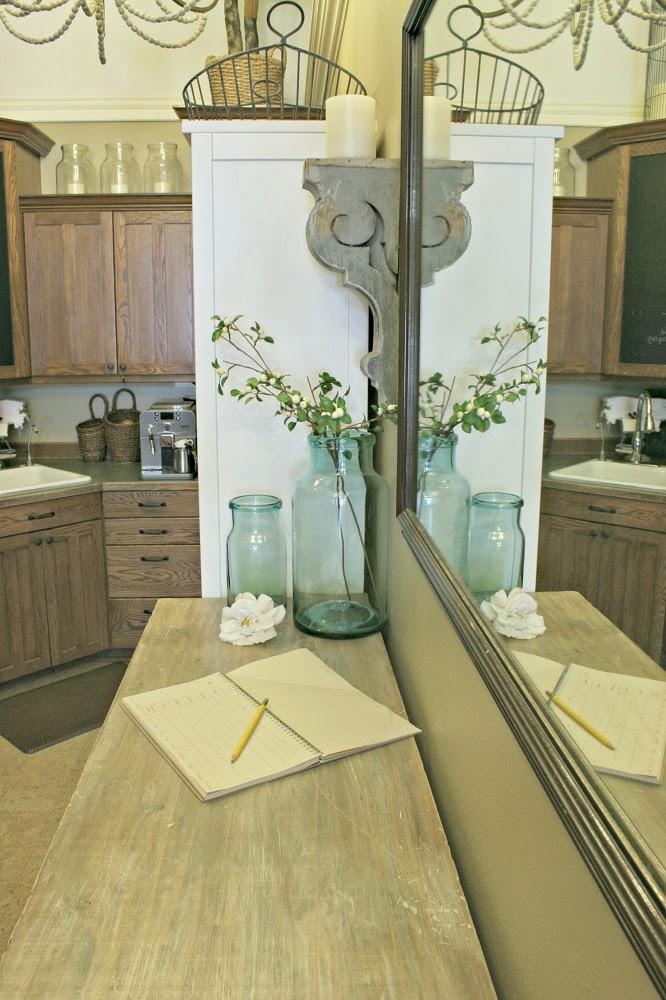 kitchen, corbels, diy kitchen island, narrow kitchen island, kitchen console, annie sloan stripped paint finish