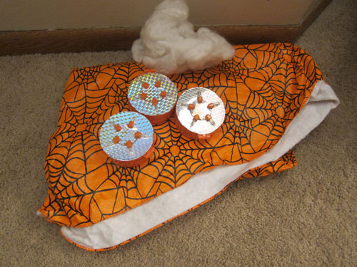 battery operated strobe lights and halloween tablecloth