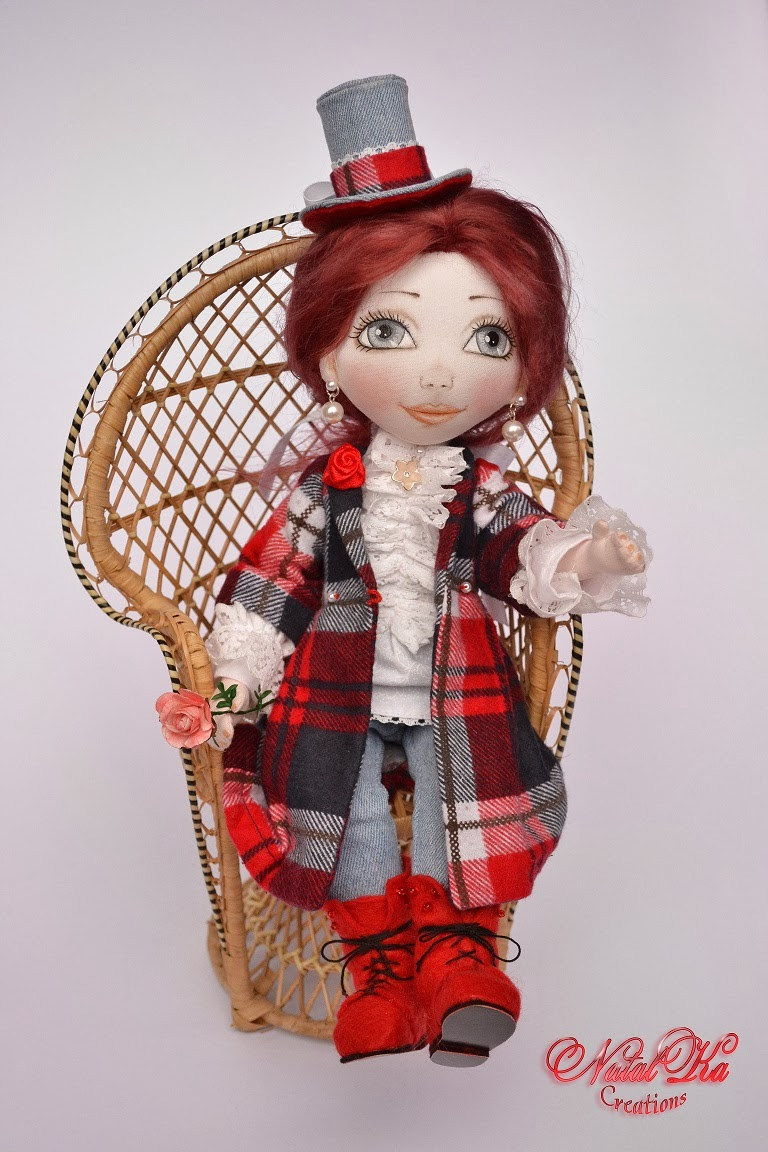 Авторская текстильная кукла от NatalKa Creations. Cloth art doll handmade by NatalKa Creations