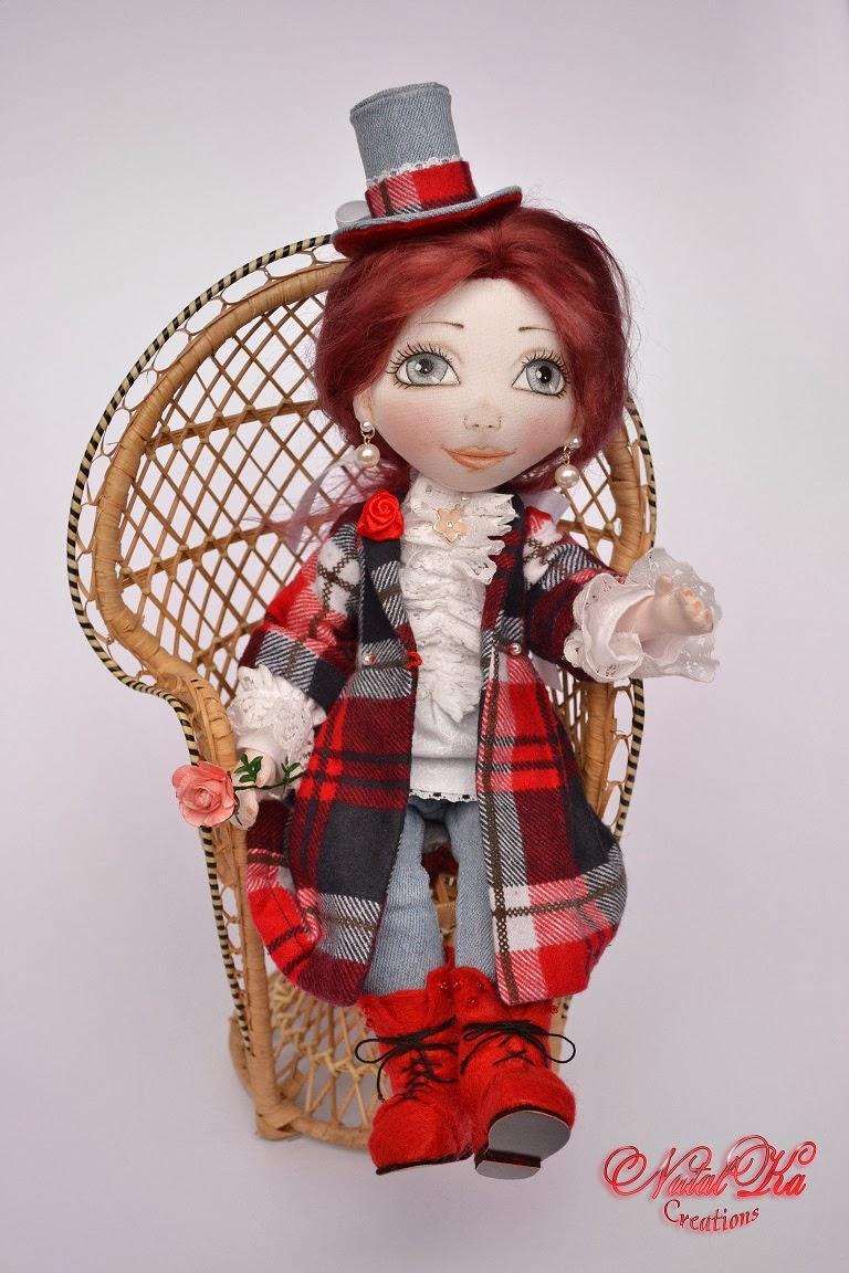 Rag cloth art doll. Авторская текстильная шарнирная кукла